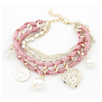 Wholesale new jewelry european fashion hellow heart ribbon knitted bracelet crystal pearl