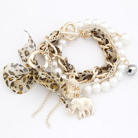 Wholesale new jewelry european fashion animal multi layer cloth pearl pendant bracelet
