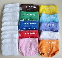 Acheter Bébé tissu réutilisable couche nappy-Nouveau 10 pcs One Size Baby Infant réutilisables couches de couches Nappies Respirant couvertures ajustables avec 10 pcs Microfiber Liner Inserts