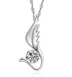 Long Angel Wings Women Pendant Necklace 925 Sterling Silver Love Austrian Crystal Pendant Necklace For Girls 10pcs lot Free shipping