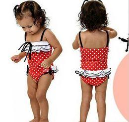 Wholesale Baby Girls lace ruffle Bow Red White Dot Swimsuit Hat Children Swimwear