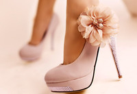 Wholesale Selling Korean version of the new women s high heels pink flowers bridal shoes