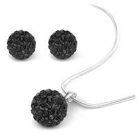 Earrings & Necklace black bead necklace set - Shining Black Crystal Disco Beads Handmade Shamballa Necklace amp Earings Sets sets