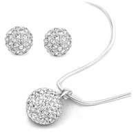 Wholesale New Bling Shamballa Jewelry sets Dazzling white Crystal Disco Beads quot Necklace Errings Set New