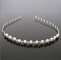 Wholesale Women Pearl Headbands Blingbling Rhinestone Diamond Hair Bands Silver Black Mix Jewelry