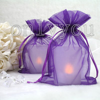 Wholesale Purple cm cm Sheer Organza bag Wedding Favor Gift Bag Party Favor Gift Bag