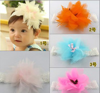 Wholesale 2014 Baby Chiffon Flower Hiarbands Baby Girl Hair Bows Headbans Kids Headwear Baby Hair Accessory Color Mix BH