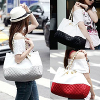 Wholesale 2015 fashion bag Quilting Contrast Color Street Style Transverse Square Shoulder Bag Hand Bag black red gray