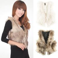 Wholesale 2016New Fashion warm winter Vintage Trend Celeb Faux Fur Waistcoat Vest