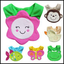 Wholesale 12PCS Cater s Animal Waterproof Baby Feeding Bib Pinafore Bibs Burp Cloths Kid Pinny Towel Apron