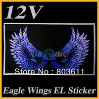 Tail Personalized Sticker  EL car Sticker LED light Sticker Eagle Wings Sound Music Activated Car Window 60x 35cm