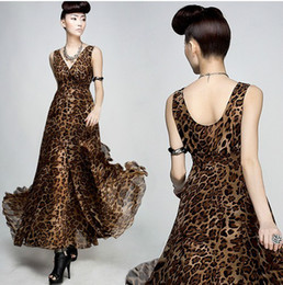 Womens dresses ladies leopard printed dress maxi party evening Bohemian beach dress 8808