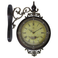 Wholesale European style double sided wood wall clock Creative Living Room Antique wall clock Mute scanning electronic timepiece quartz wall clock