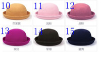 Wholesale NEW Women Dome Homburg Flanging Cashmere Cloth retro jazz hats