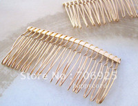 Wholesale mmx75mm teeth plated gold Hair Combs