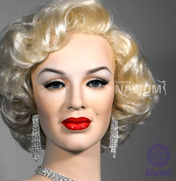 Wholesale Female Marilyn Monroe Glamorours Golden Short Wig Kanekalon Fiber Synthetic women Hair H9129Z