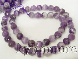 8SE05628a 8MM Natural Amethyst Faceted Round Beads 15.5