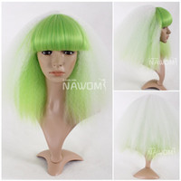Wholesale cosplay Glamorous Charming fashion short white green wave Synthetic women Wig Hair H9140Z