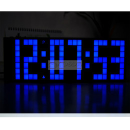 Grandes Grandes Jumbo LED Reloj Display TableDesk pared alarma temperatura calendario digital temporizador azul reloj desde grandes relojes de pared azul proveedores