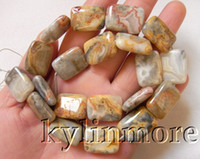 agate minerals - 8SE08908a x20mm Crazy Lace Agate Rectangle Beads quot