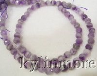 faceted gemstones - 8SE05627a MM Natural Amethyst Faceted Round Beads