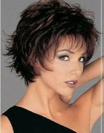 Wholesale New sexy short dark brown synthetic hair full wig wigs cap