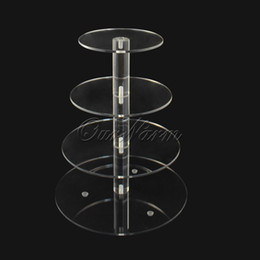 Wholesale 4 Tier Crystal Clear Circle Acrylic Cupcake Stand Wedding Party Decoration Craft