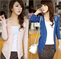 Wholesale Women Lace Sweet Candy Color Crochet Knit Sweater Cardigan W4023