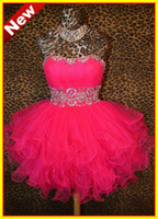 Wholesale 2013 Actual Image Hot Pink Strapless Tulle Crystal Beaded Short Mini Prom Party Dresses Dress gown