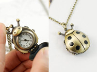 Wholesale Retro Pocket Watches nostalgia Classic Ladybird Style Necklace watch Cheap Fashion Block Watch
