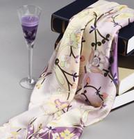 Wholesale 100 pure silk square scarf silk printed scarf fashin silk shawl silk satin scarf cm violet