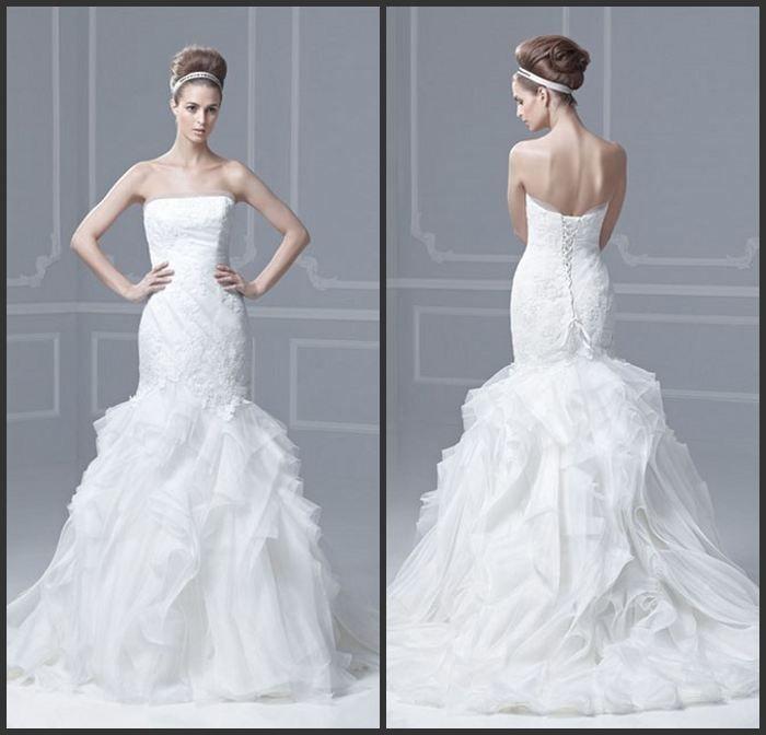 Fishtail Wedding Dress With Ruffles : Fashion sexy strapless white organza ruffles appliques