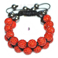 Wholesale Hot mm Red Rhinestone Shamballa Crystal ball bead bracelet Disco