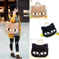 Wholesale Women s Handbag Cat Pattern Korean Fashion Floss Winter Bags Tote Handbags
