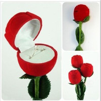 Wholesale Trendy Luxury Jewelry Red Rose Box For Ring Wedding Gifts Ring Boxes Valentine Day Gift H