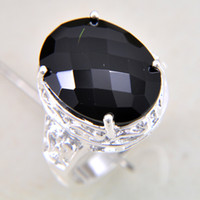 Wholesale Fashion new sterling Black onyx gemstone Ring jewelry LR0212