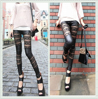 Skinny,Slim Other Capris 2013 Women Sexy Leggings Superior Punk Lace Leggings Slim Faux Leather Pants Tights S M L