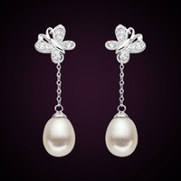 Wholesale Han edition natural pearl earrings sterling silver earrings butterfly