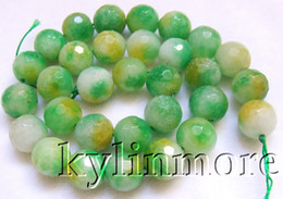 8SE09360a 12mm Jade Faceted Round Beads 15.5''