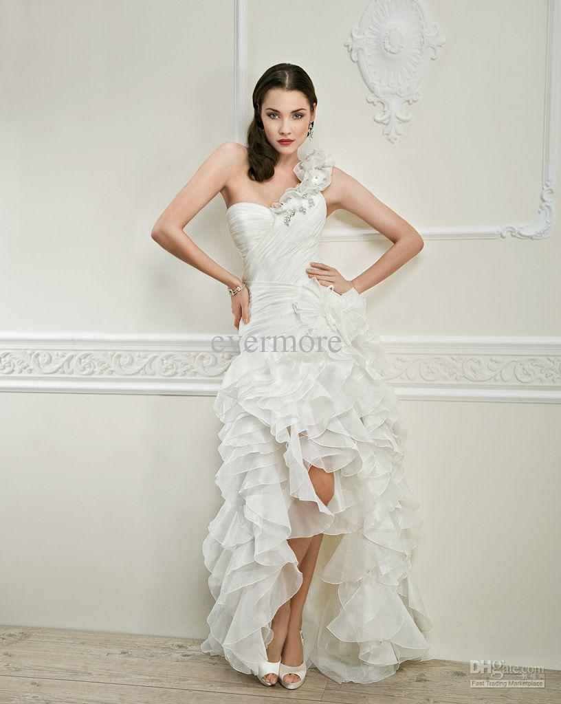 One shoulder a line hi lo wedding dress beach organza for One shoulder beach wedding dress