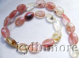 8SE09378a 13x18mm Red Quartz Oval Beads 15.5''