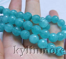 8SE09412a 8mm Skyblue Jade Faceted Round beads 15.5''