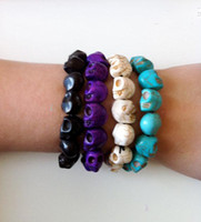 Wholesale Multicolor Fashion Chain Turquoise Skull Beads Bracelets