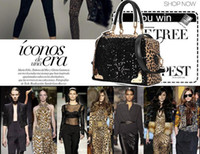 animal print hand bags - Women Leopard Sequins Handbag Vintage Lady Celebrity PU Leather Tote Handbag Shoulder Hand Bag