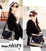 Wholesale Women s Leather Handbags Designer discount Fashion Shoulder Big Capacity Leopard sequins handbag