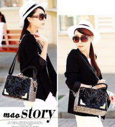clearance designer handbags p5ys  2017 discounted designer handbags Women's Leather Handbags Designer  discount Fashion Shoulder Big Capacity Leopard sequins handbag