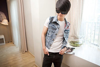 Wholesale 2013 New Arrival Mens Jacket Trun down Collar Blue Jean Vest Denim Jackest Vest lx231