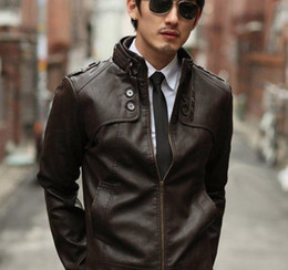 Wholesale 2013 New Arrival Fashion Classic Mens PU Leather Coat Length Full Sleeve Jacket lx396