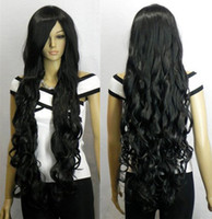 "Cheap 33"" Heat resistant Long Bang Black Spiral Wavy Cosplay Party Hair Wig"