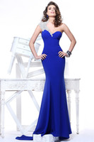 Wholesale 2013 Sexy One Shoulder Royal Blue Mermaid Satin Evening Dresses Beaded Formal Party Dresses